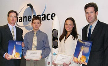 Jerry Howe (far left) and Mark Quinn (far right) with WSBR 2004 Scholarship recipients Andrei Munteanu and Erin Fry.